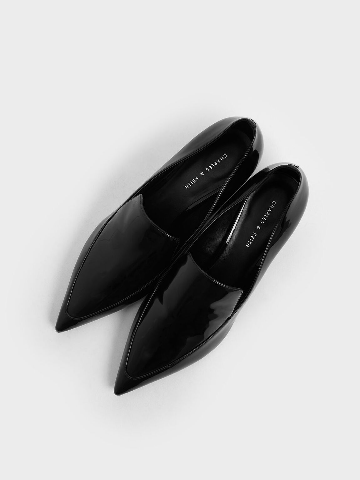Patent Pointed Toe Loafers, Black, hi-res