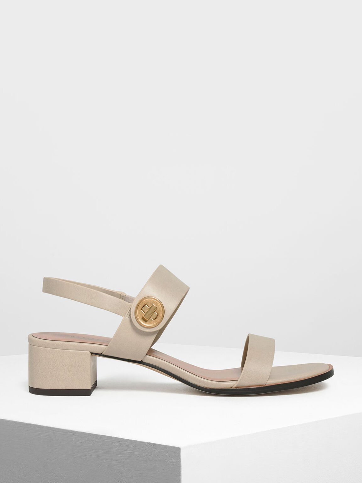 Open Toe Midi Block Heels, Chalk, hi-res
