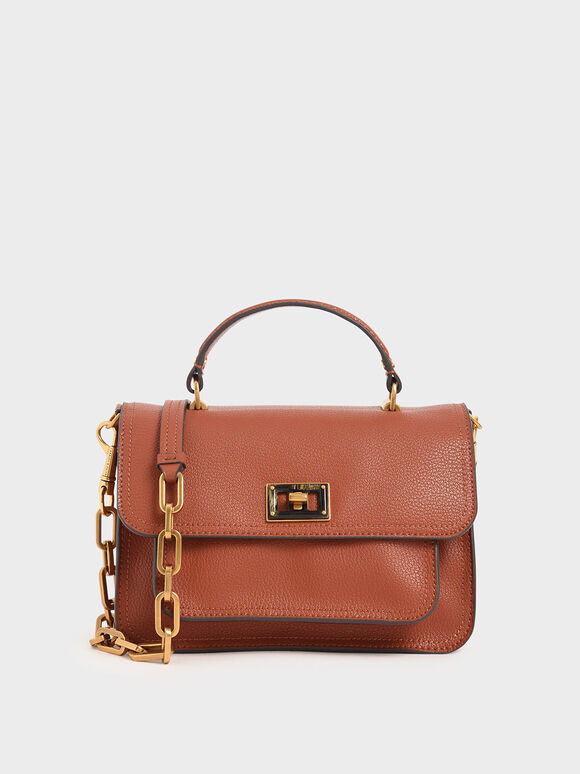 Resin-Effect Buckle Handbag, Cognac, hi-res