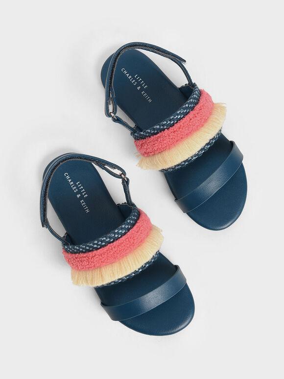 Girls' Woven & Frill Strap Slingback Flats, Dark Blue, hi-res