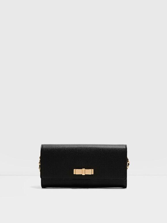 Metal Bow Wallet, Black, hi-res