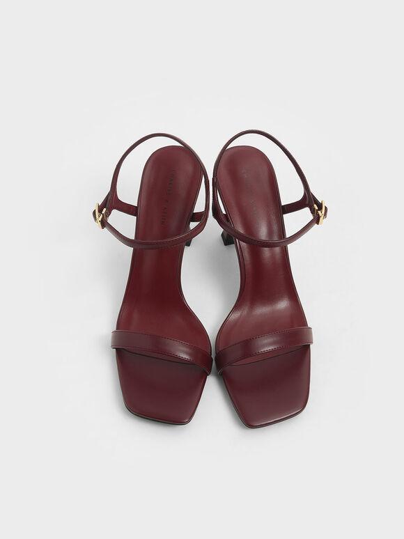 Sculptural Heel Sandals, Burgundy, hi-res