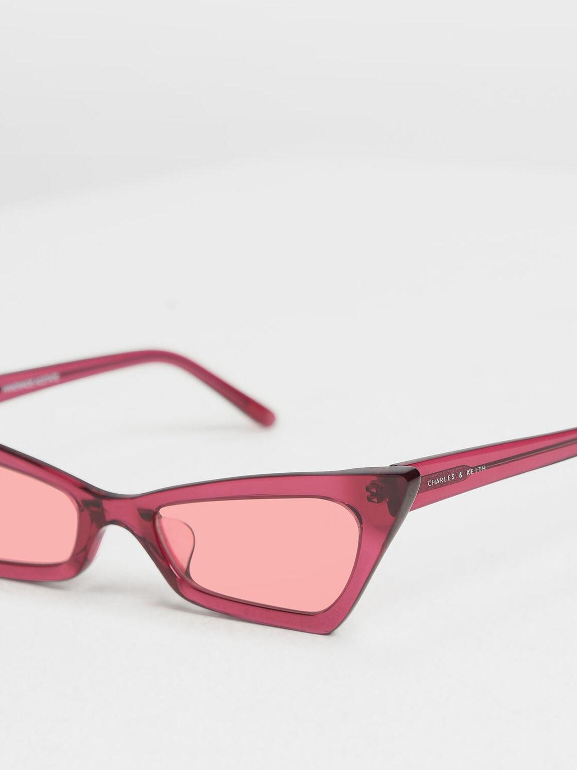 Angular Cat Eye Sunglasses, Red, hi-res