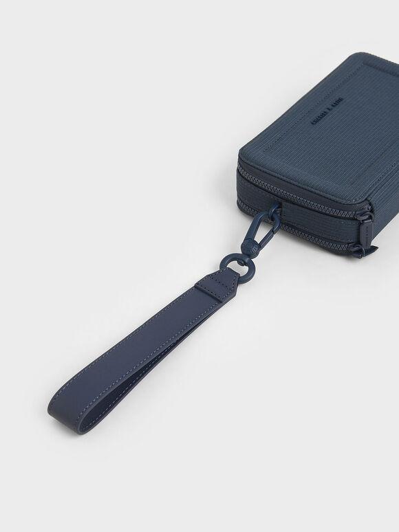 雙拉鍊手拿包, 藍色, hi-res