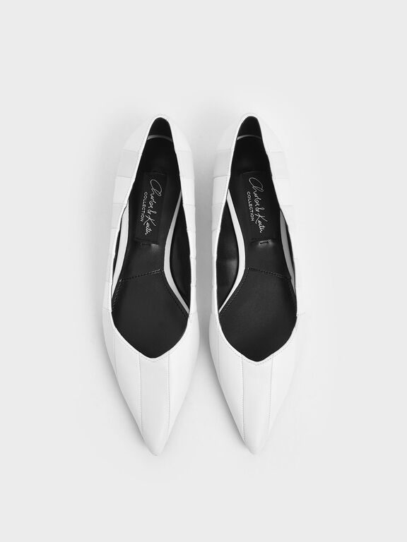 Wrinkled Leather Striped Ballerina Flats, White