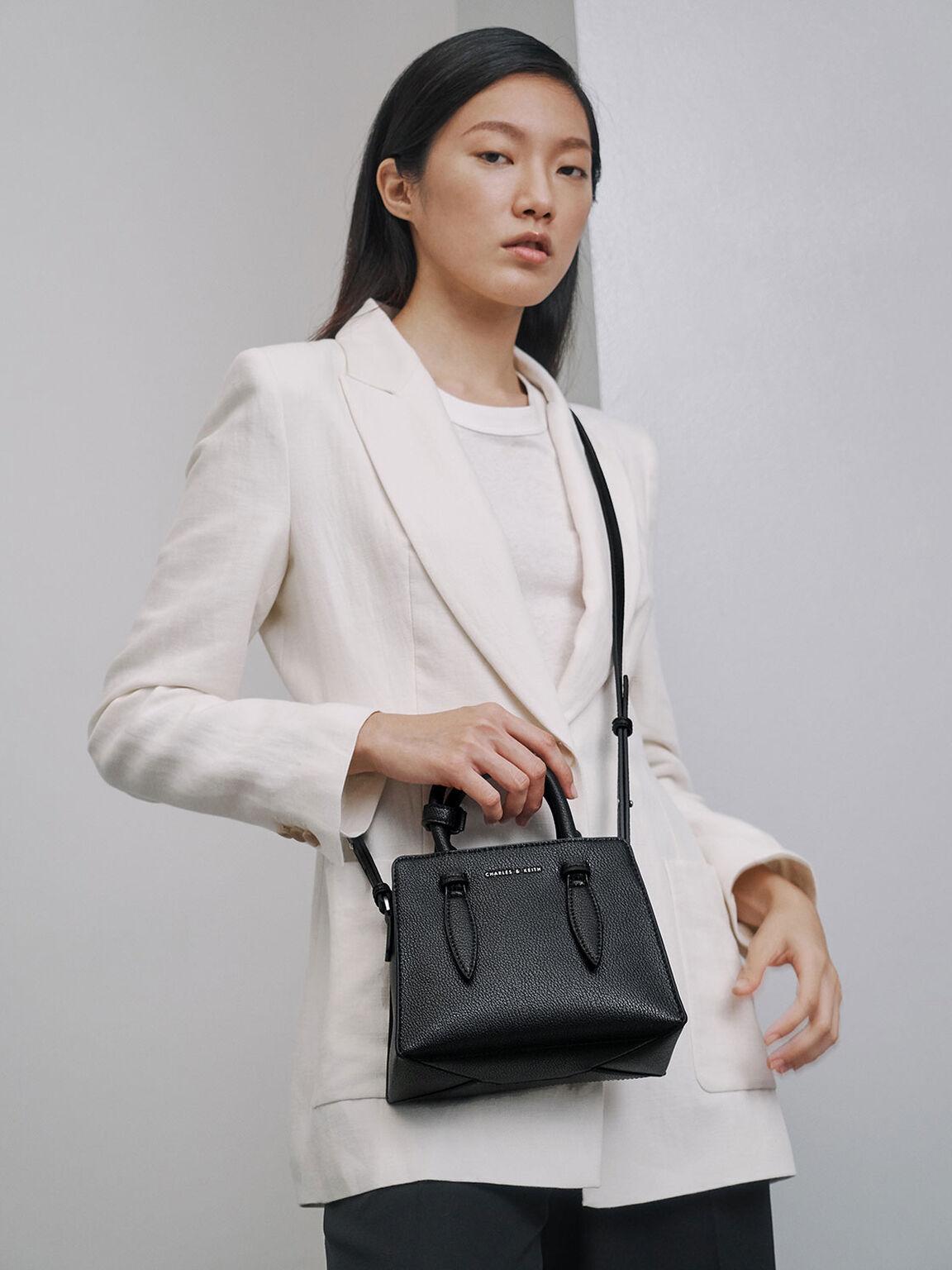 Double Top Handle Structured Bag, Black, hi-res