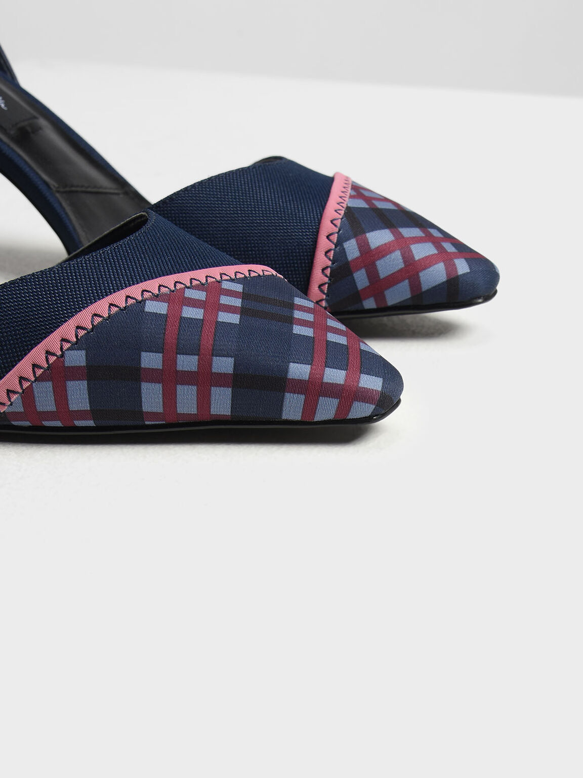 Chequered Nylon Ankle Strap Pumps, Blue, hi-res