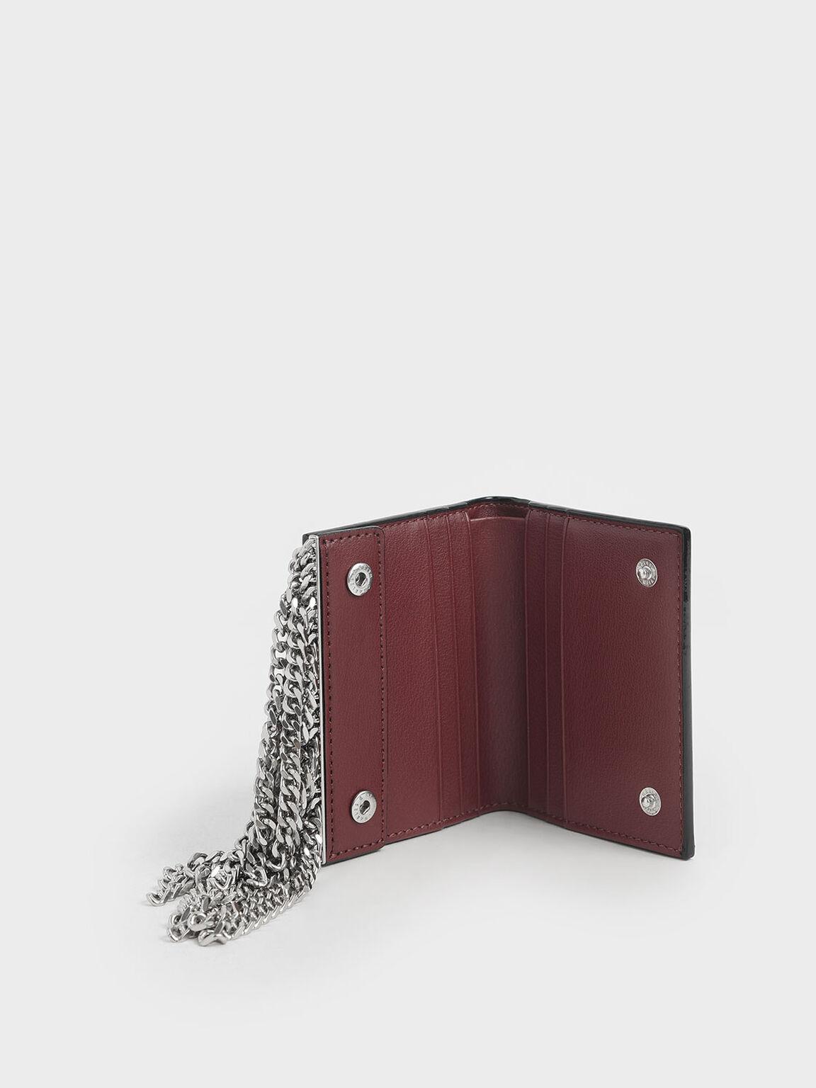 Chain Fringe Card Holder, Burgundy, hi-res