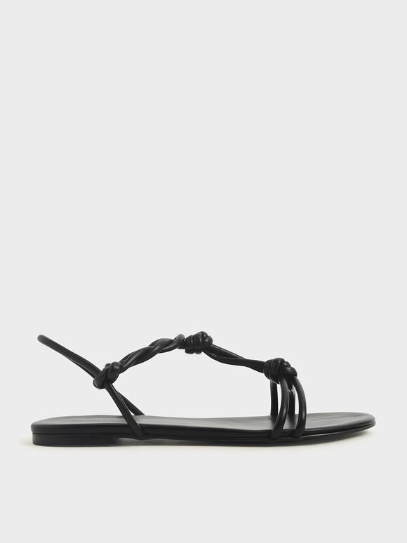 Knotted Strap Sandals, Black, hi-res