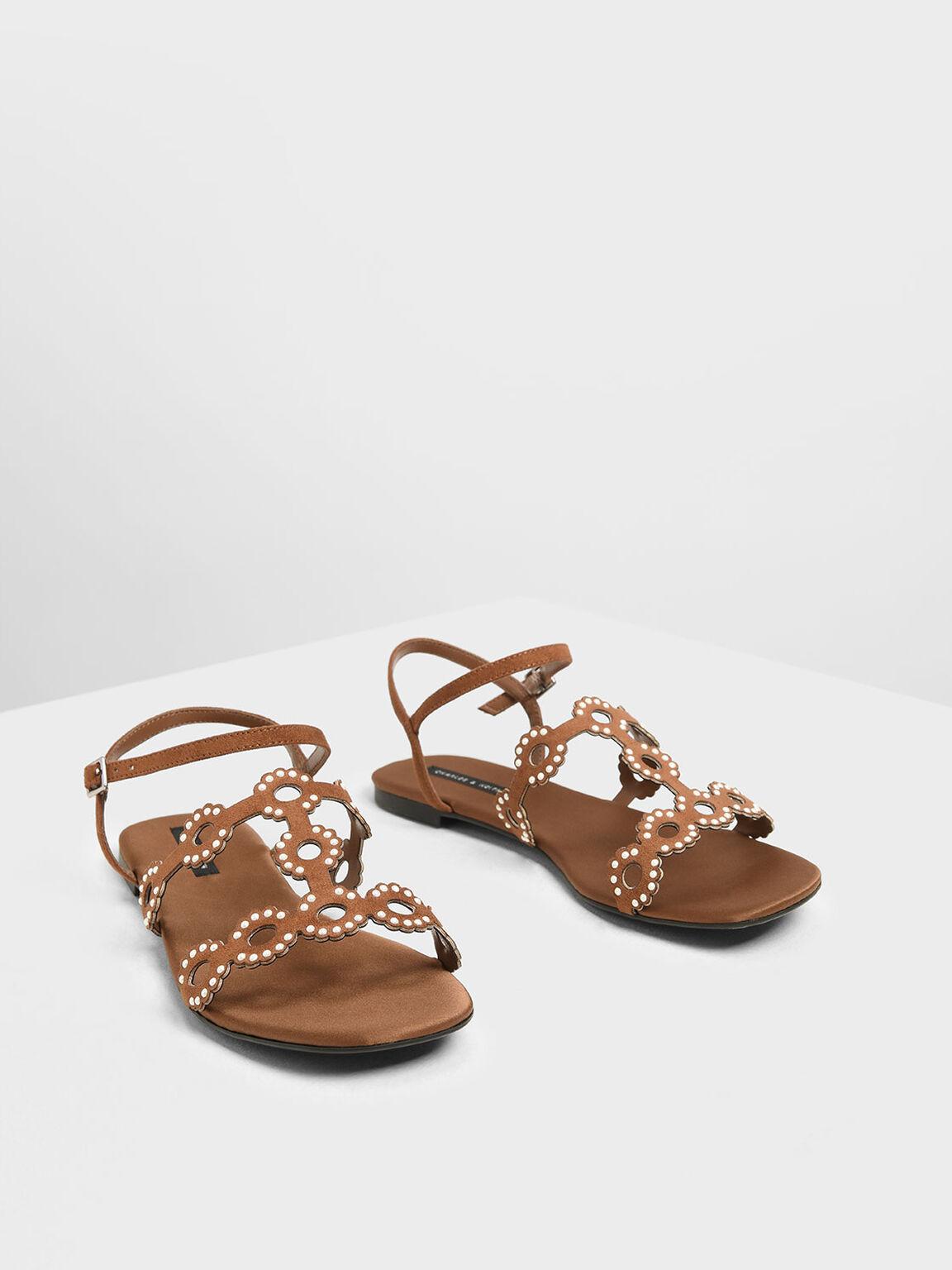 Cut-Out Embellished Sandals, Camel, hi-res