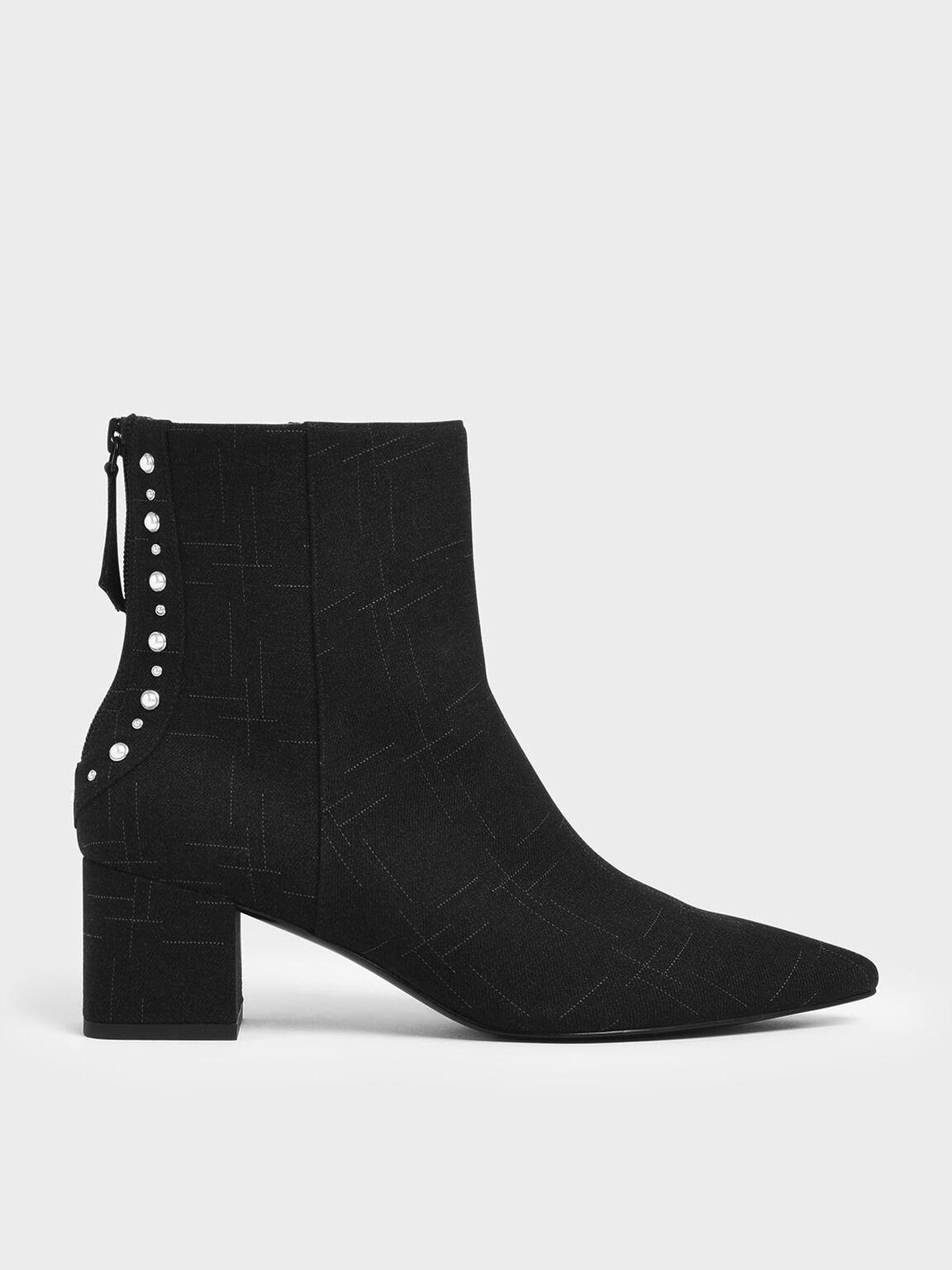 Embellished Trim Block Heel Ankle Boots, Black Textured, hi-res