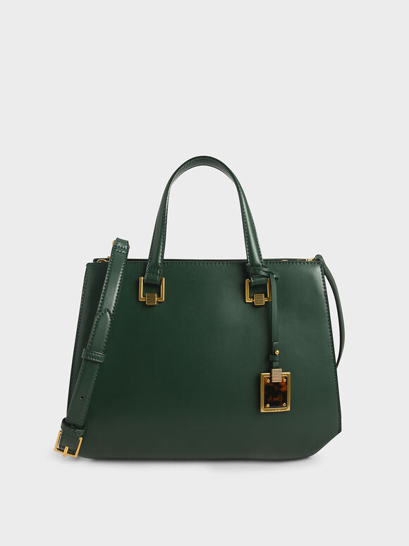 Structured Tote Bag, Green, hi-res