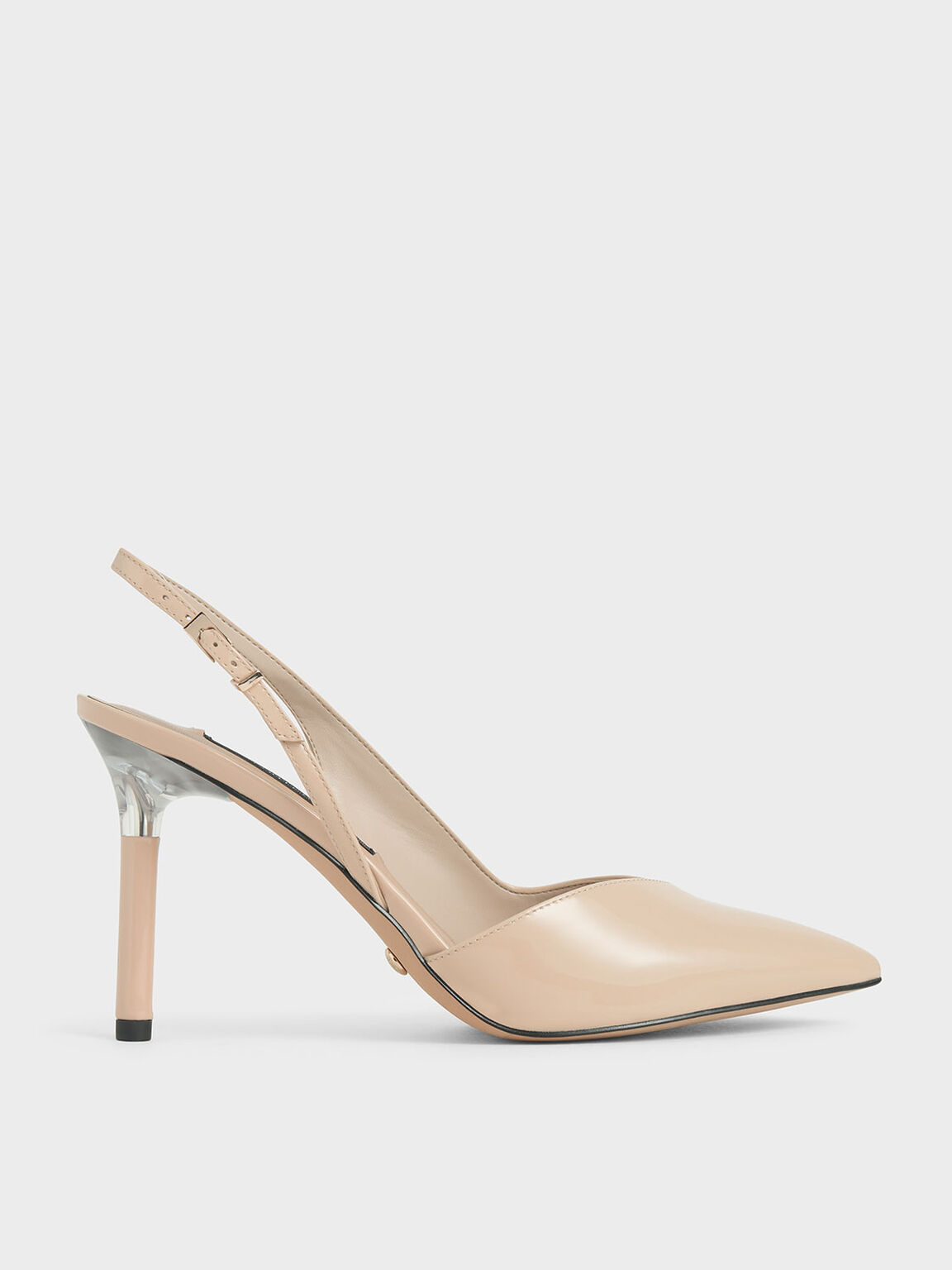 Patent Leather Half D'Orsay Slingback Pumps, Light Pink, hi-res