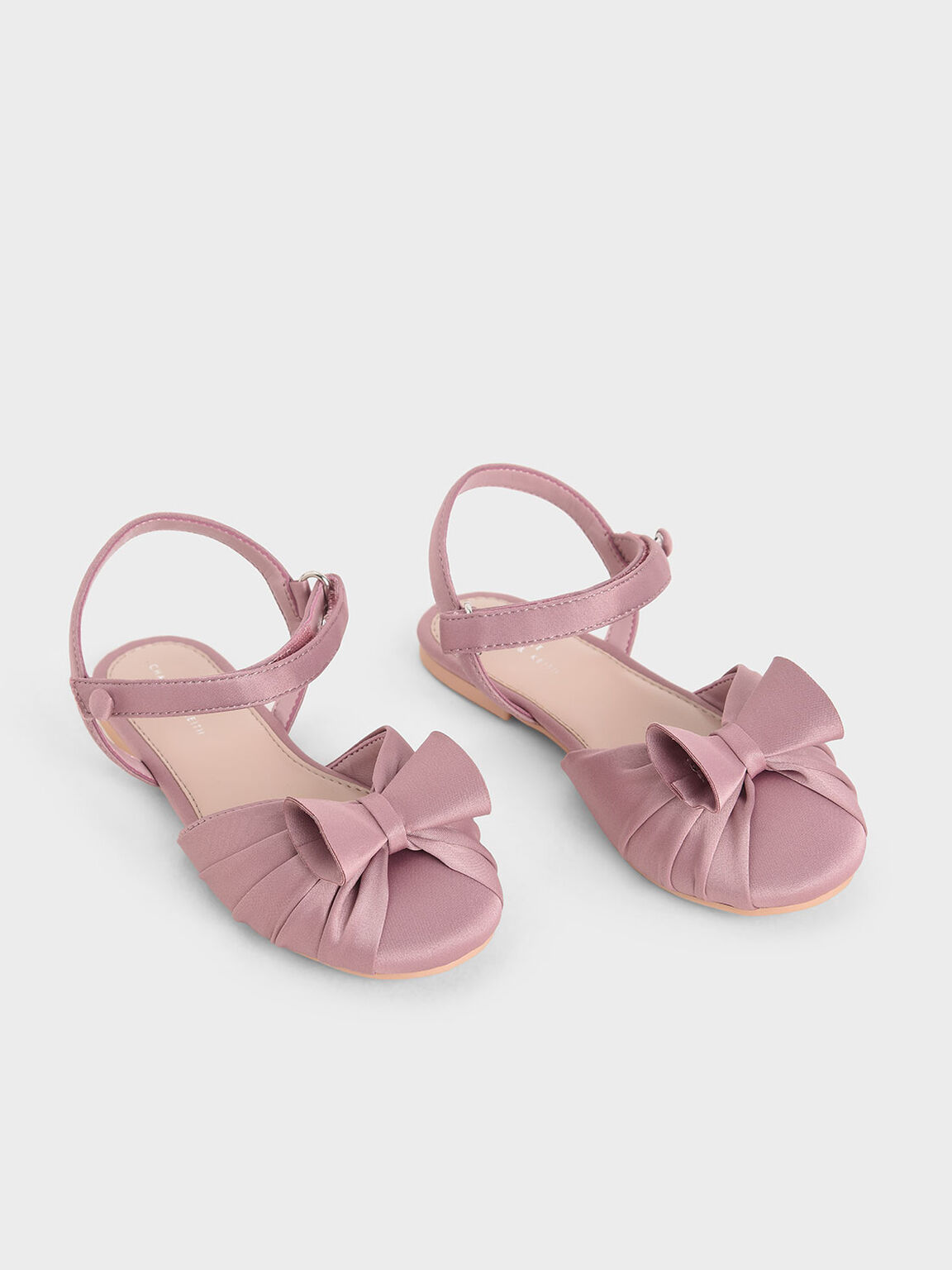 Girls' Satin Flats, Pink, hi-res