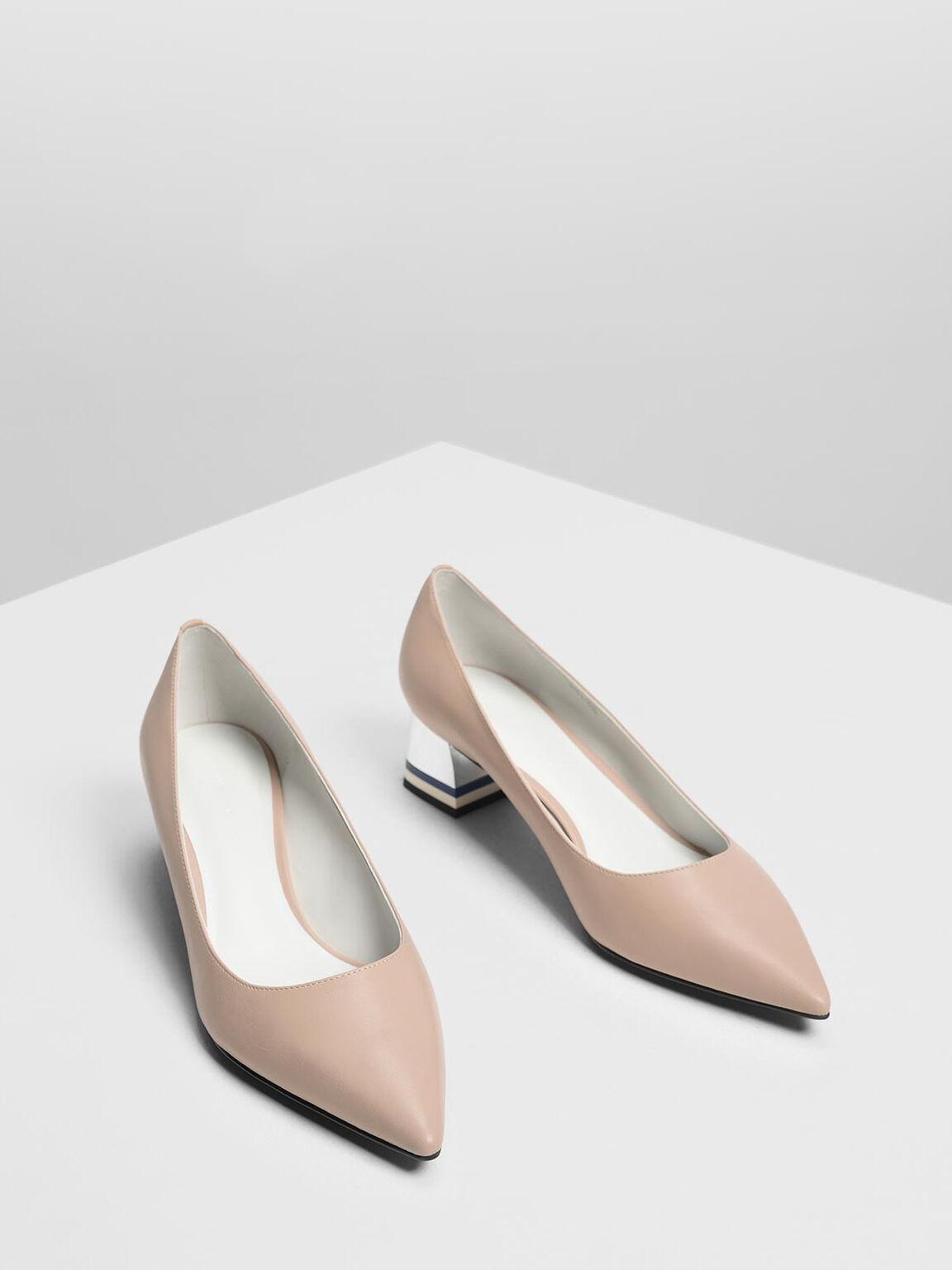 Striped Chrome Heel Pumps, Nude, hi-res