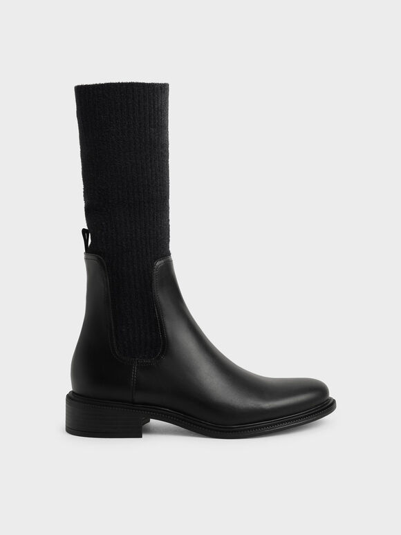 Knee-High Knitted Sock Boots, Black, hi-res