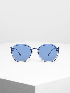 Cut Out Butterfly Sunglasses, Blue