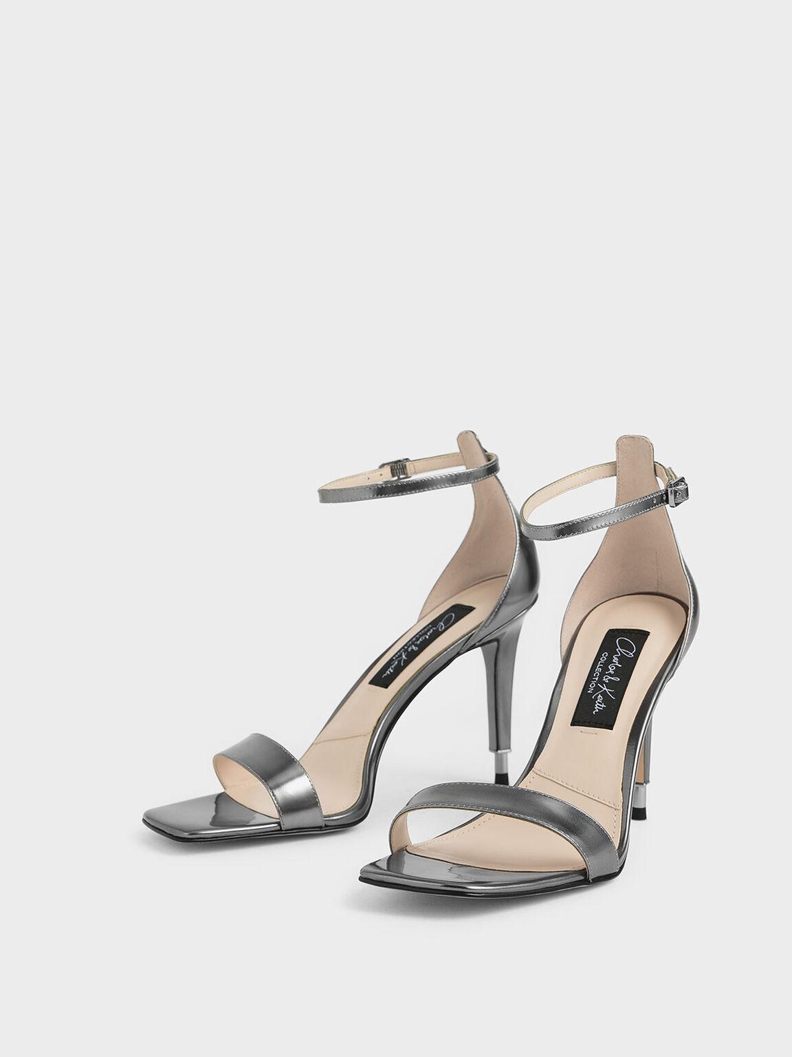 Metallic Leather Stiletto Heels, Silver, hi-res