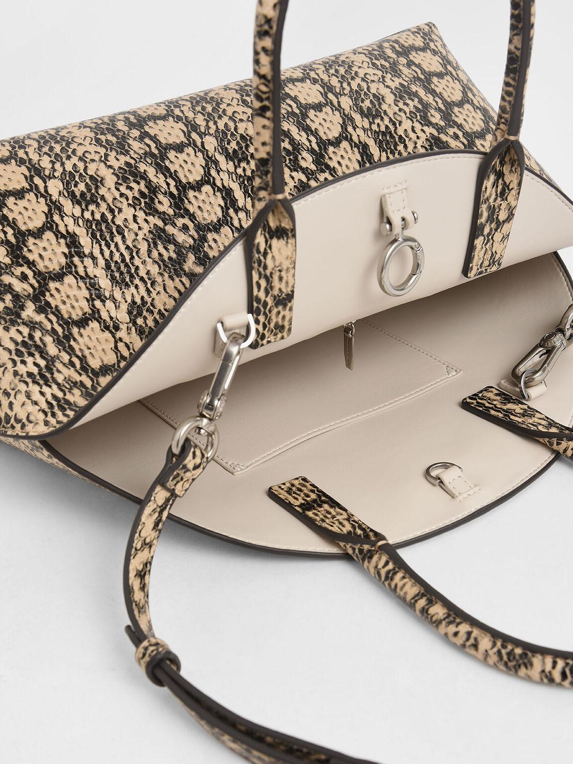 Large Snake Print Dome Bag, Beige, hi-res