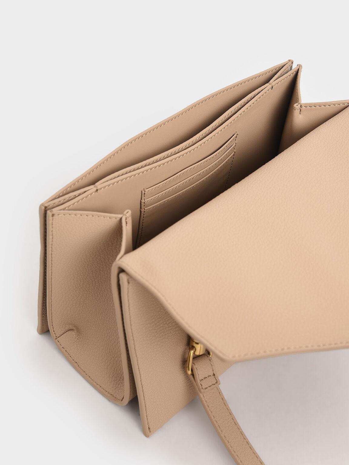 Turn-Lock Top Handle Bag, Beige, hi-res