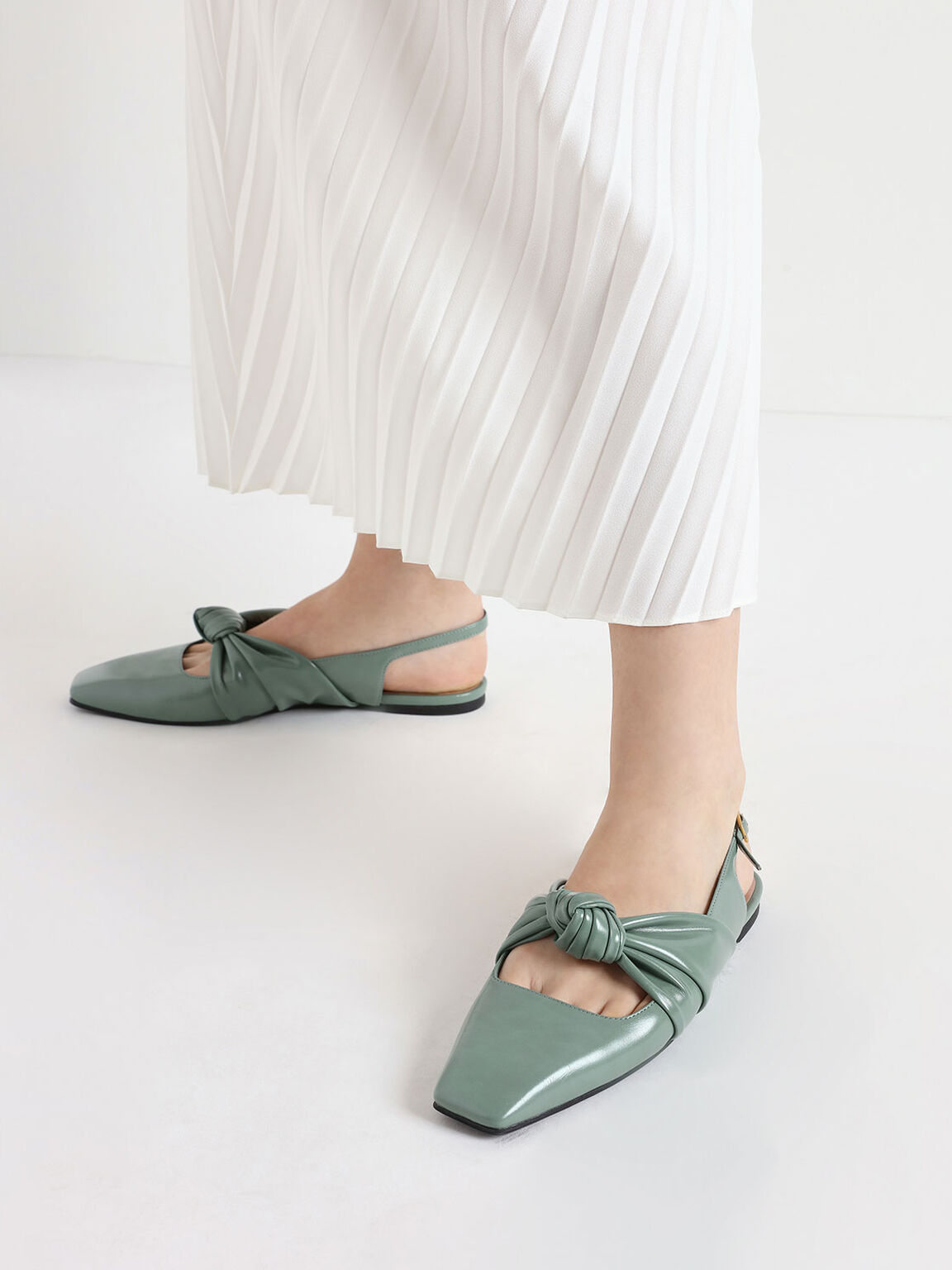 Knotted Mary Jane Strap Slingback Flats, Green, hi-res