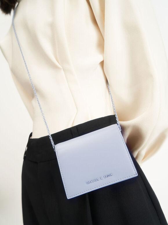 子母扣摺疊短夾, 淺藍色, hi-res