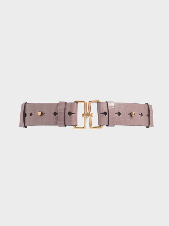 Croc-Effect Double Buckle Waist Belt, Mauve, hi-res
