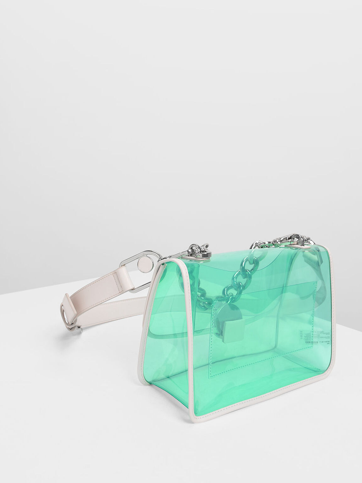 Chain Handle Transparent Bag, Light Pink, hi-res