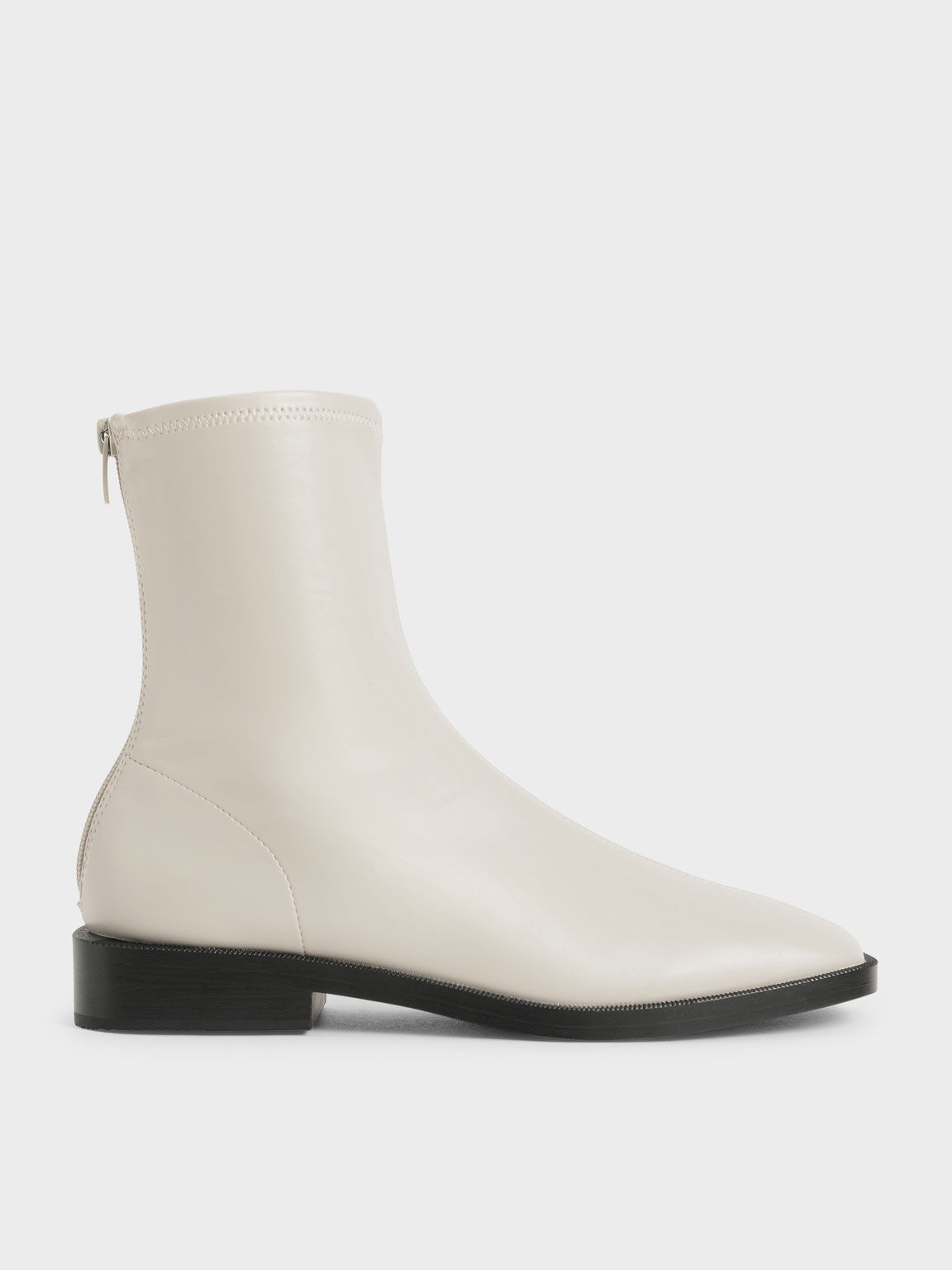 Square Toe Zip-Up Ankle Boots, Chalk, hi-res