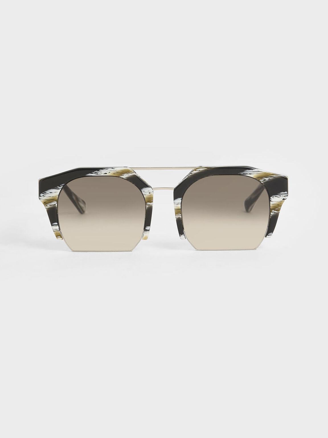 Striped Cut-Off Frame Geometric Sunglasses, Multi, hi-res