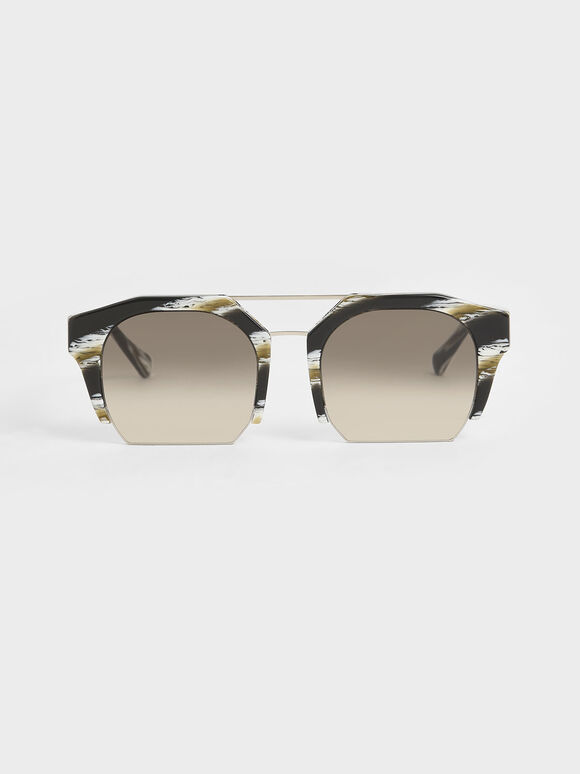 Striped Cut-Off Frame Geometric Sunglasses, Multi, hi-res