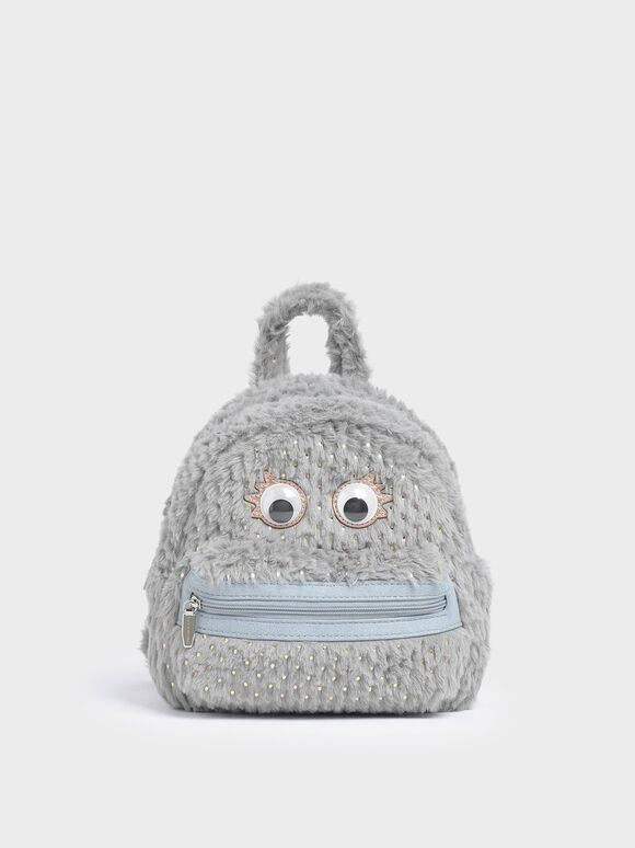 Girls' Furry Character Backpack, Light Blue, hi-res