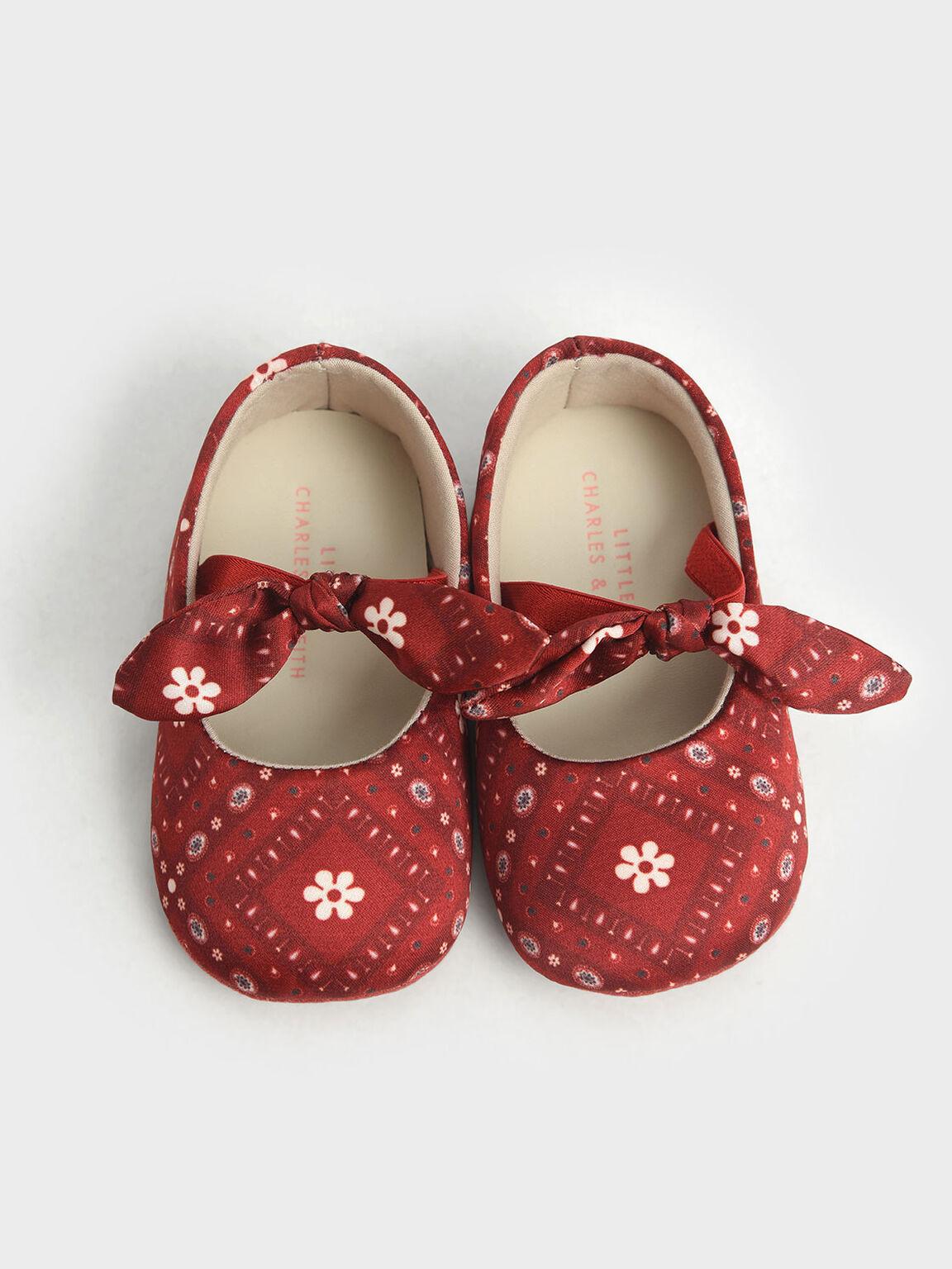 Summer 2020 Responsible Collection: Baby Girls' Bandana Print Bow Ballerinas, Red, hi-res