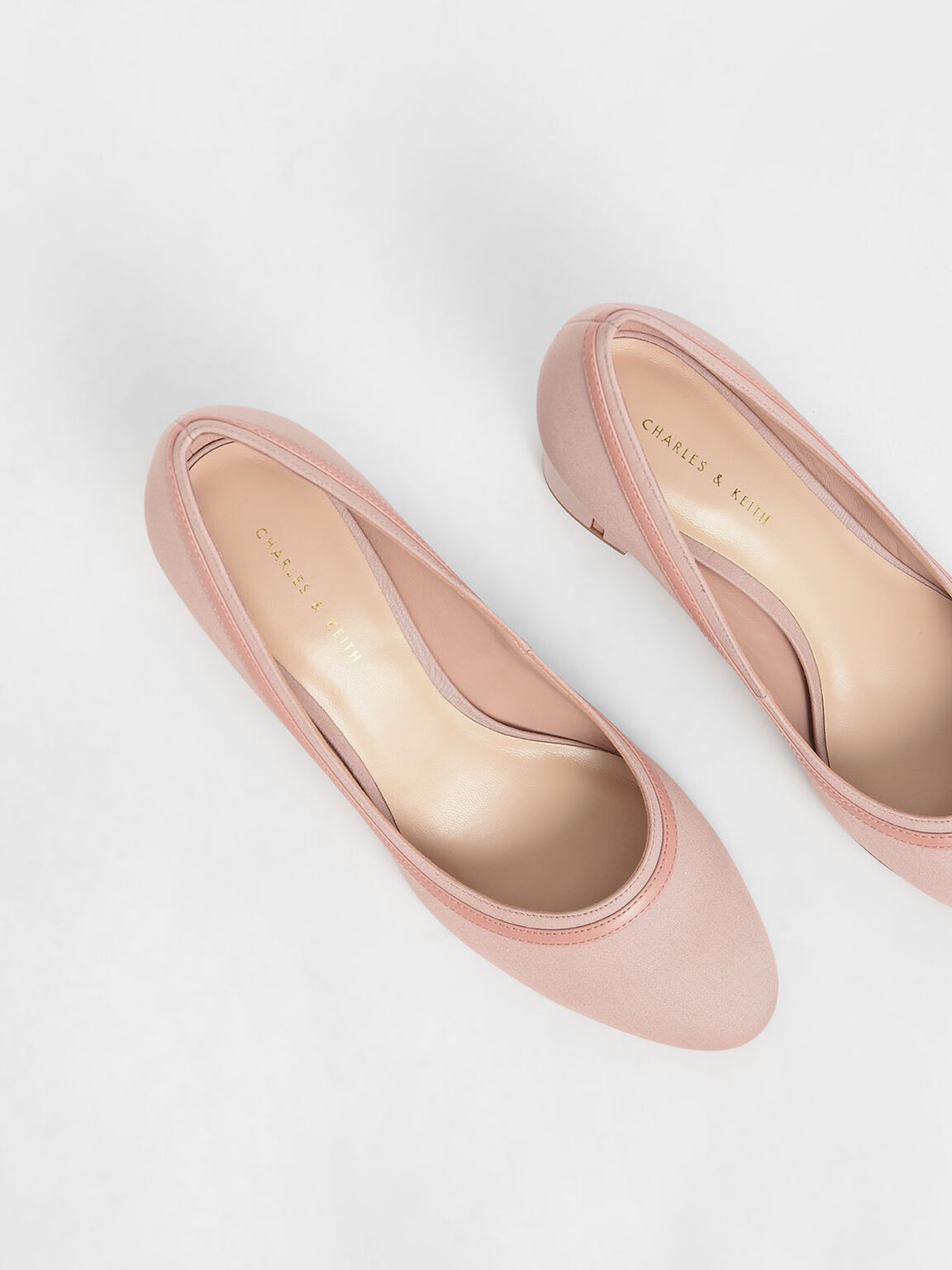 Round Toe Block Heel Pumps, Nude, hi-res