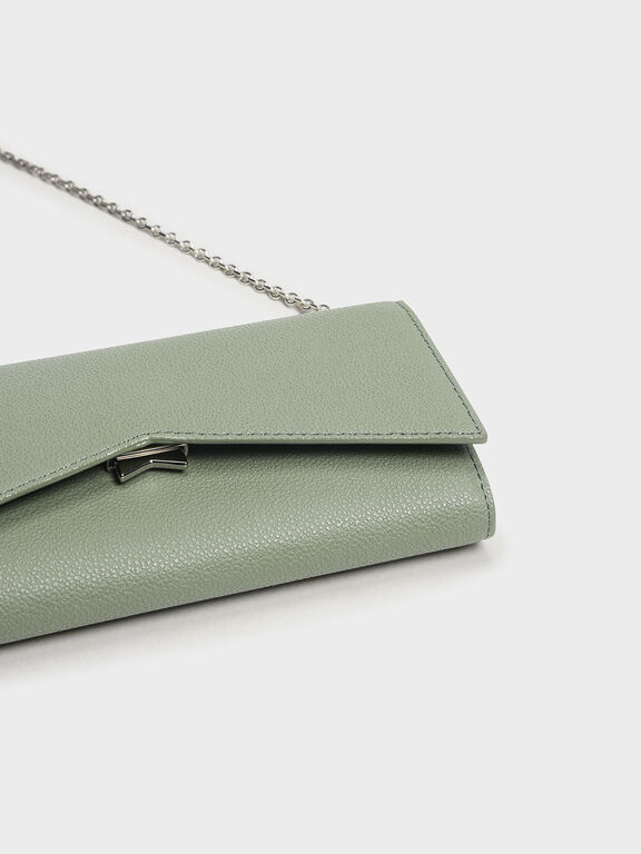 Metallic Accent Long Wallet, Sage Green, hi-res