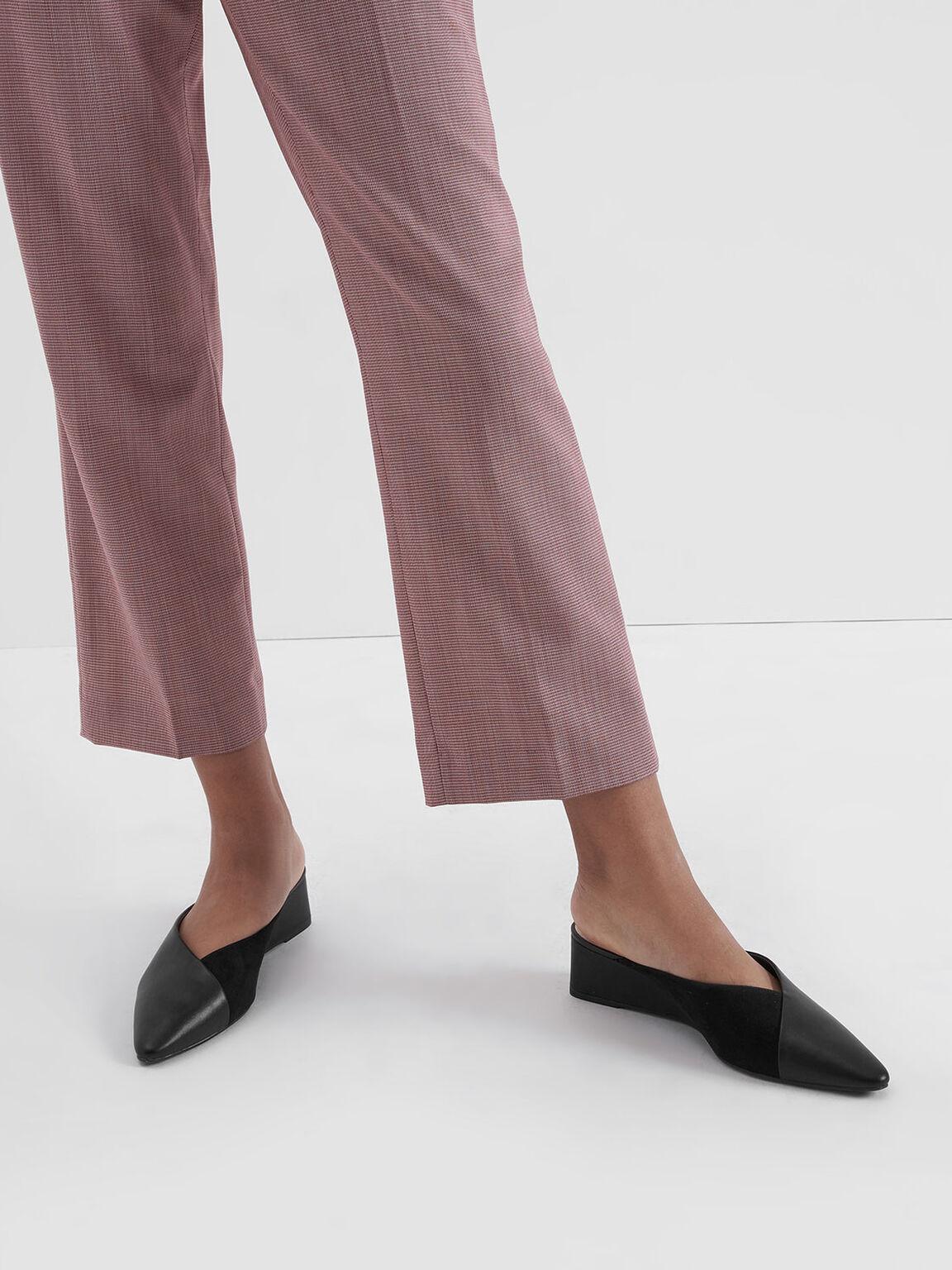 Textured Pointed Toe Wedge Heel Mules, Black, hi-res