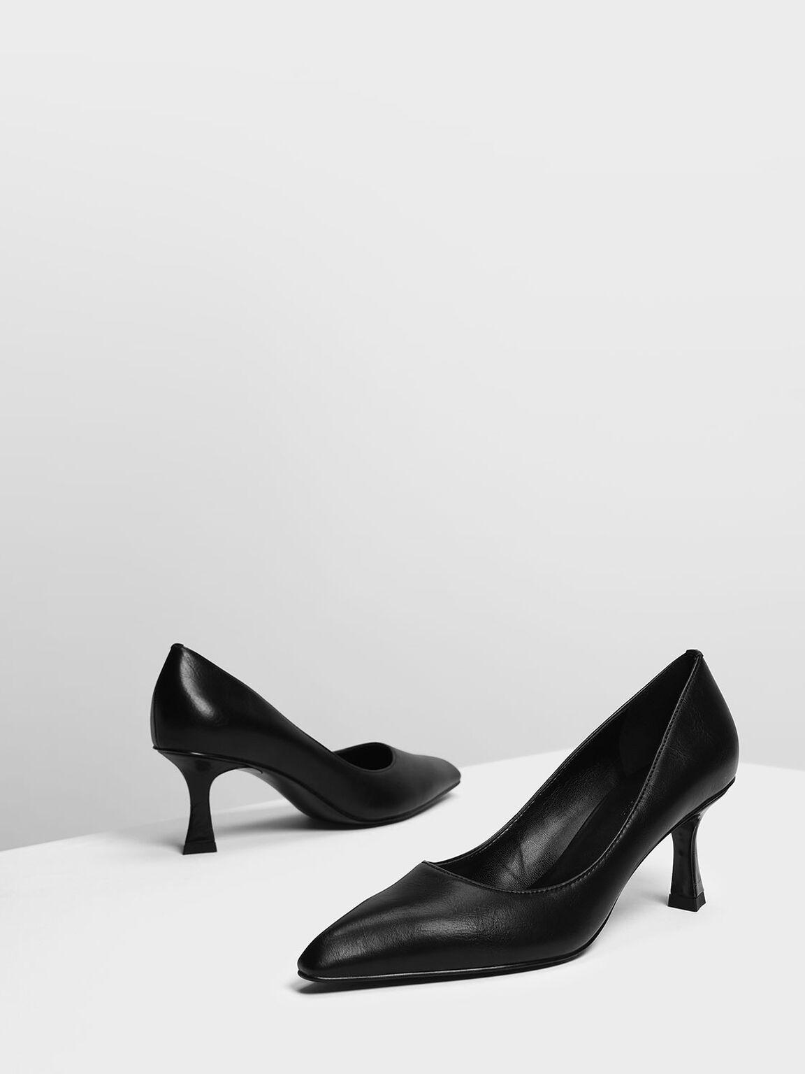 Sculptural Heel Pumps, Black, hi-res