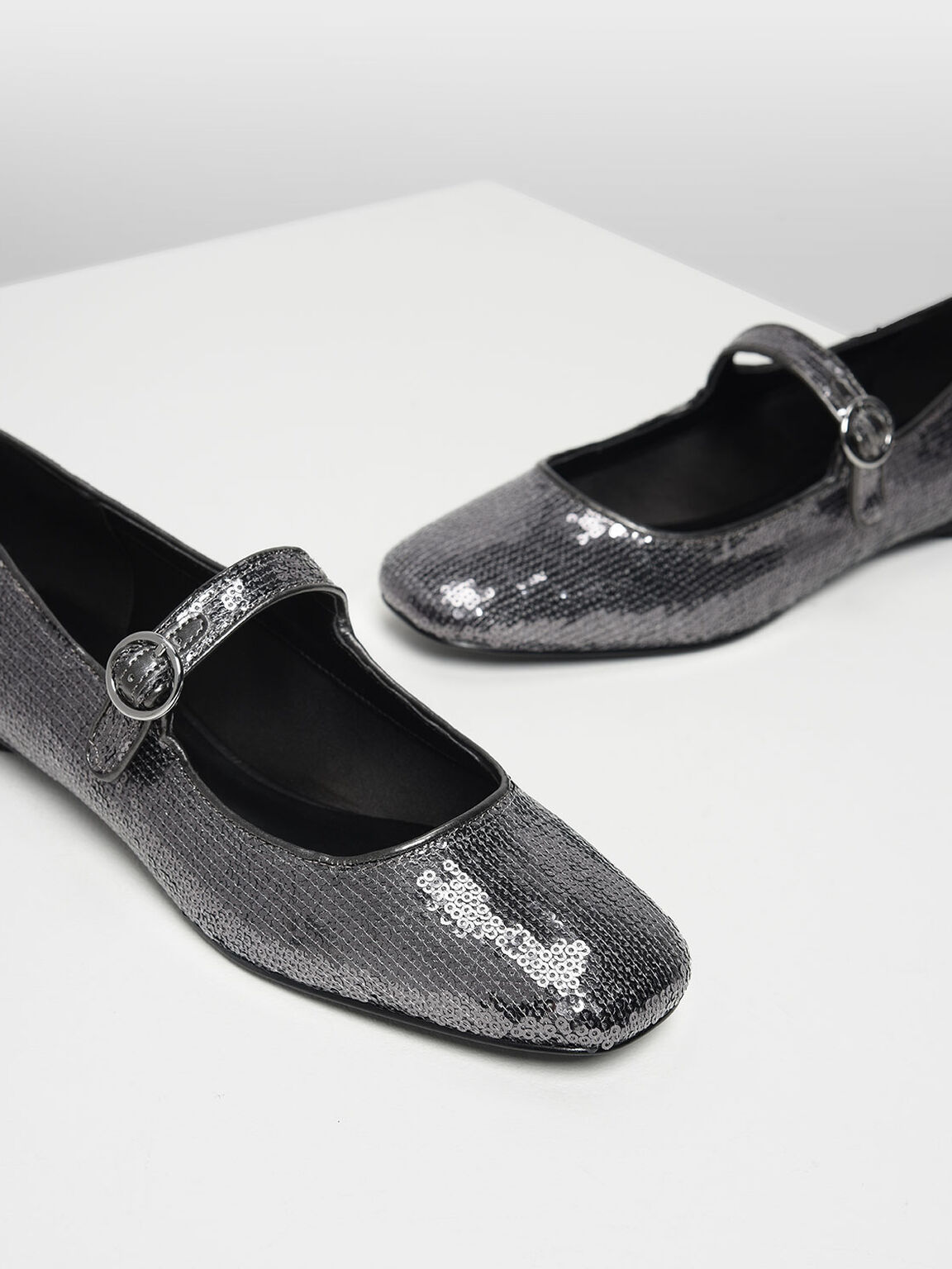 Sequin Detail Mary Jane Flats, Pewter, hi-res