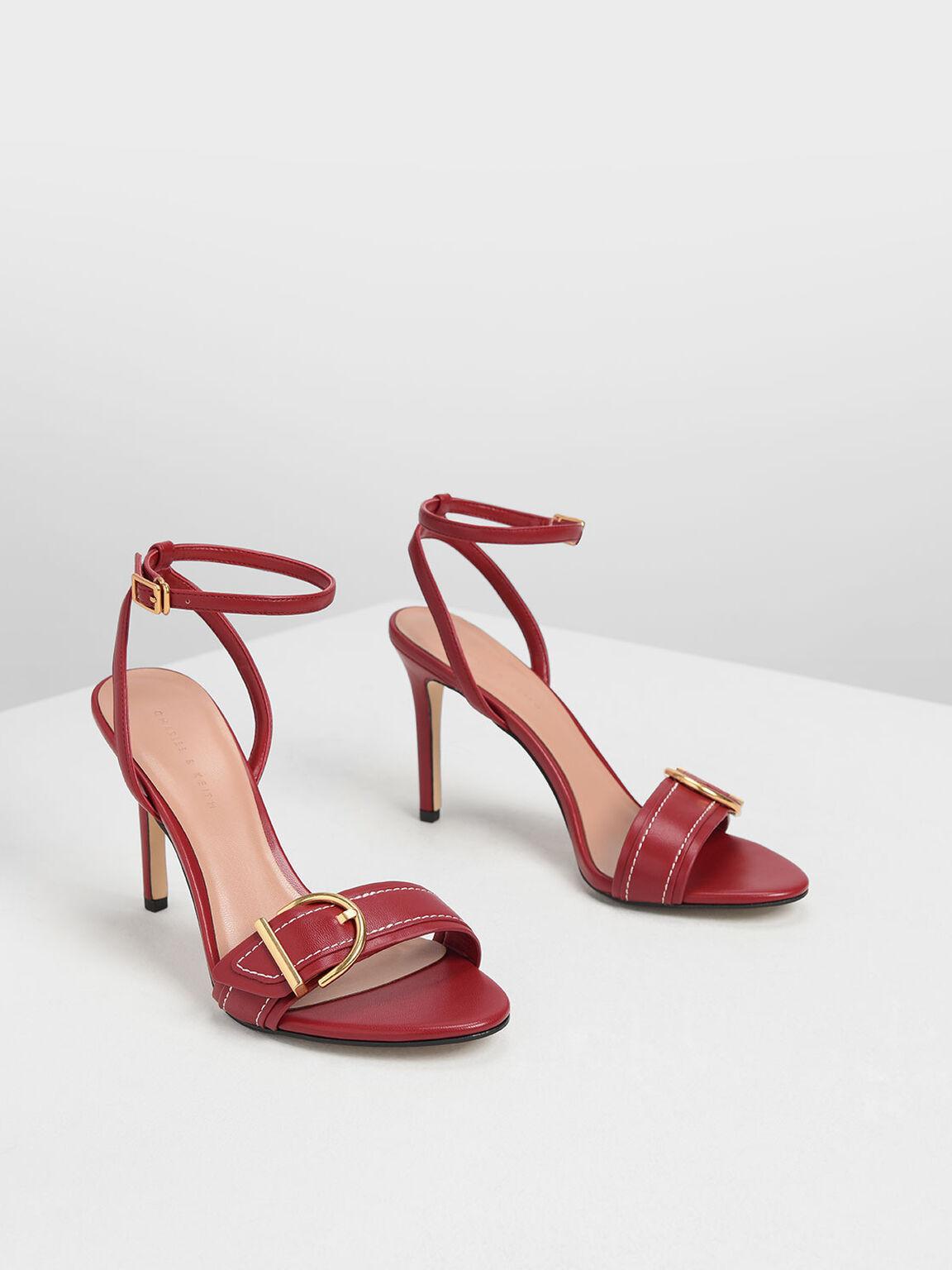 Buckle Ankle Strap Heels, Red, hi-res