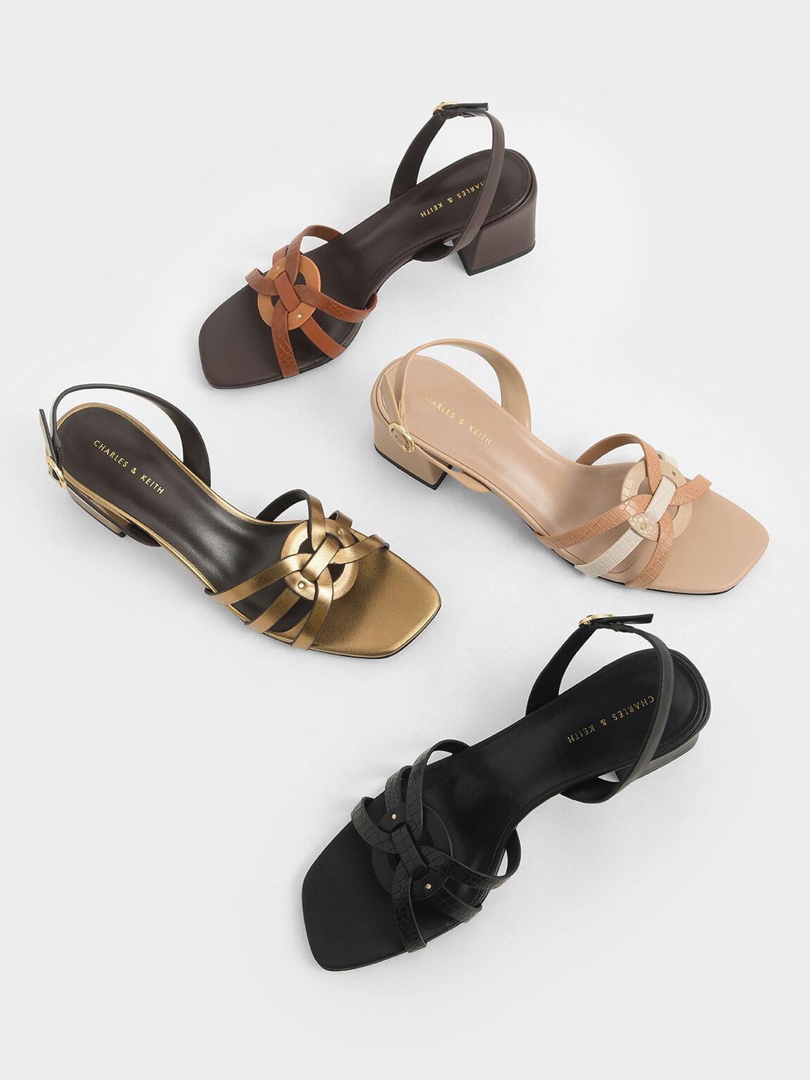 Snake Print Block Heel Sandals, Animal Print Natural, hi-res