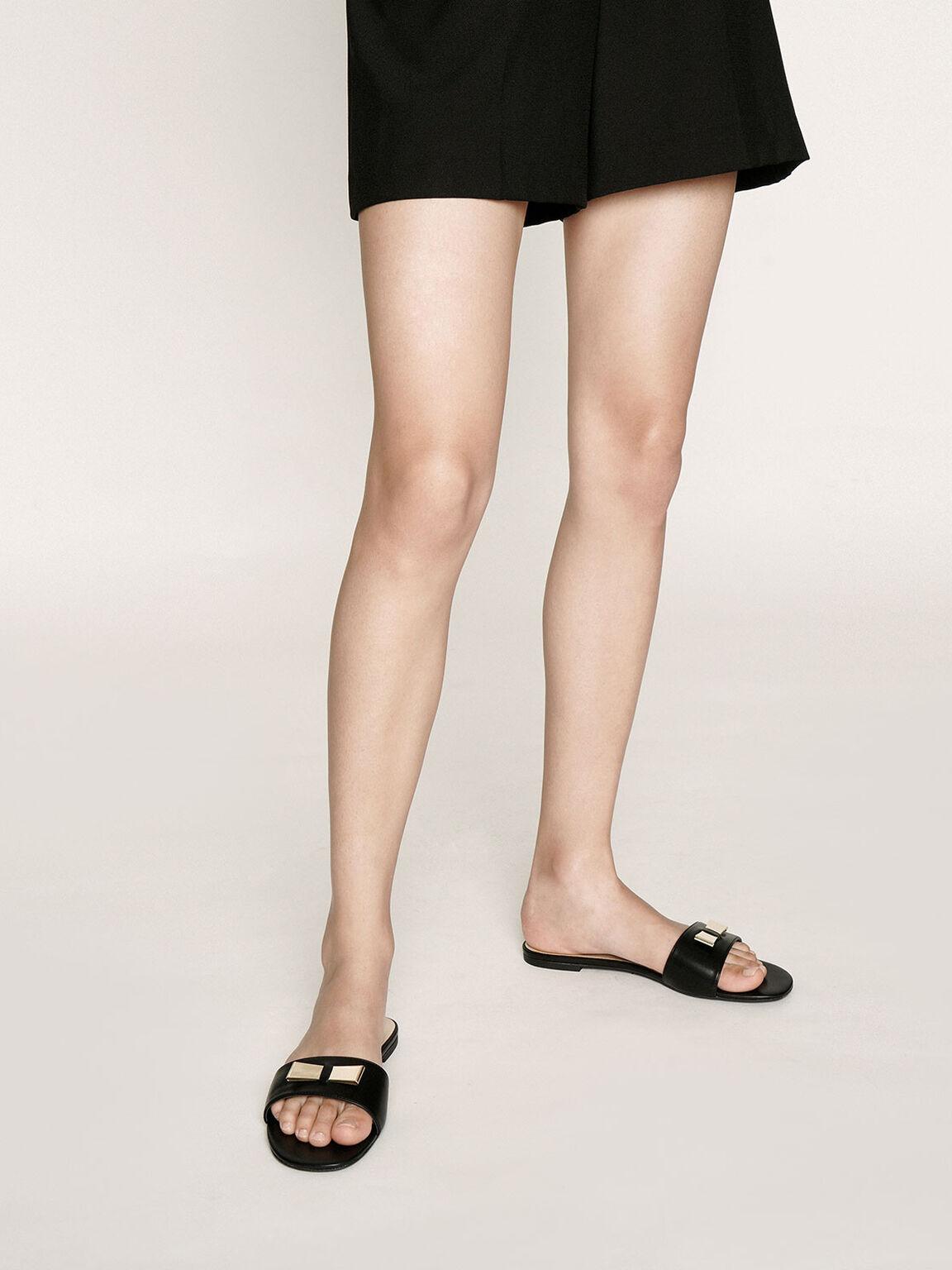 Metal Bow Slide Sandals, Black, hi-res