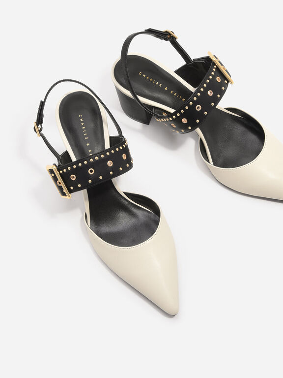 Studded Pointed Slingbacks, Chalk