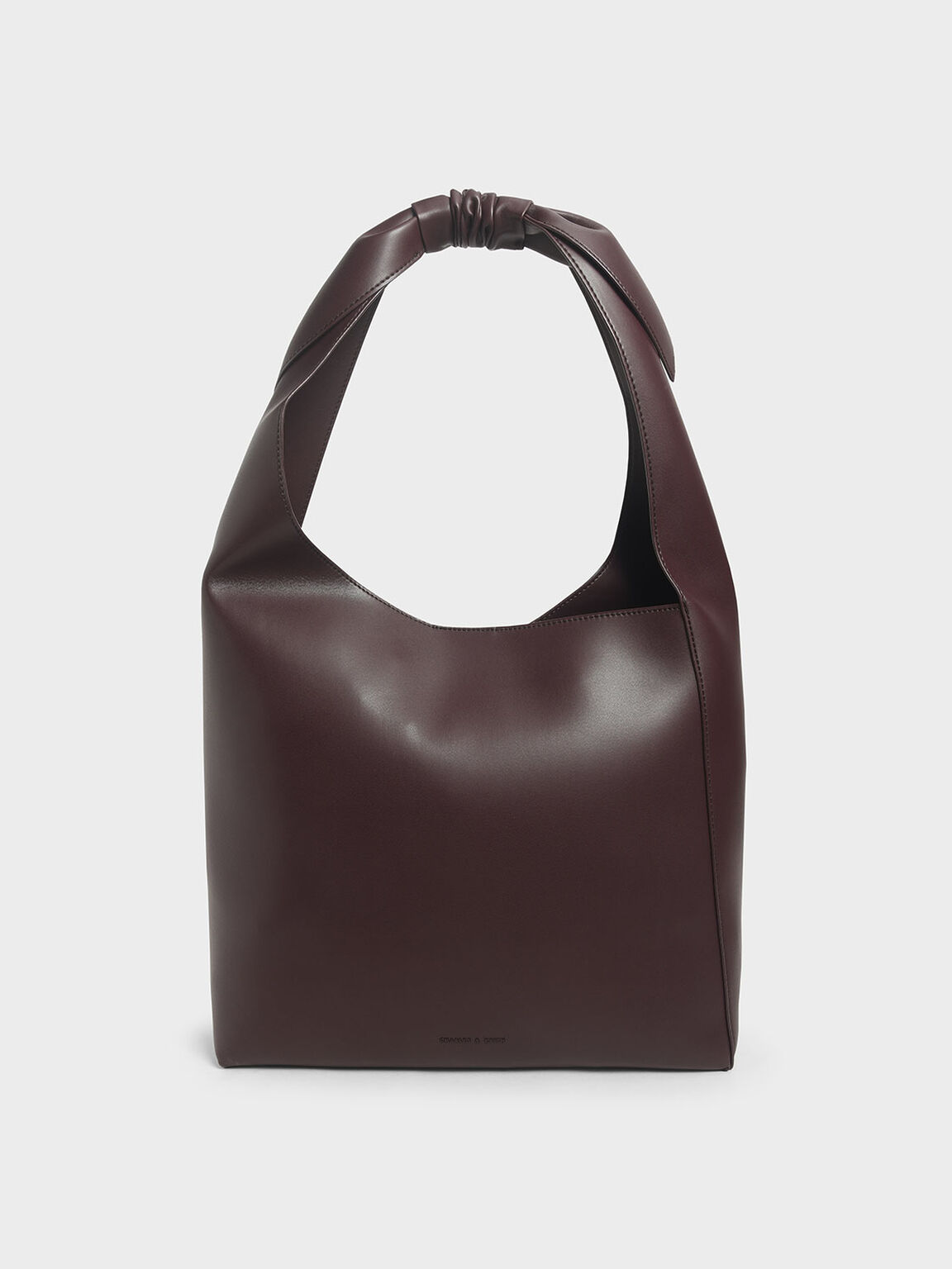 Knotted Handle Hobo Bag, Dark Brown, hi-res