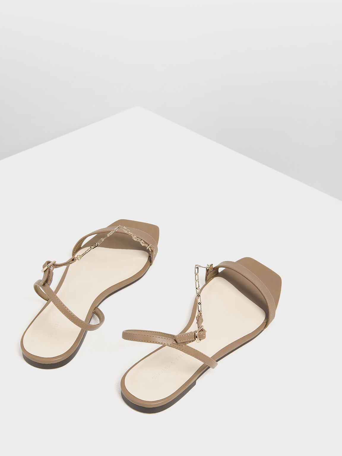 Chain Strap Sandals, Brown, hi-res