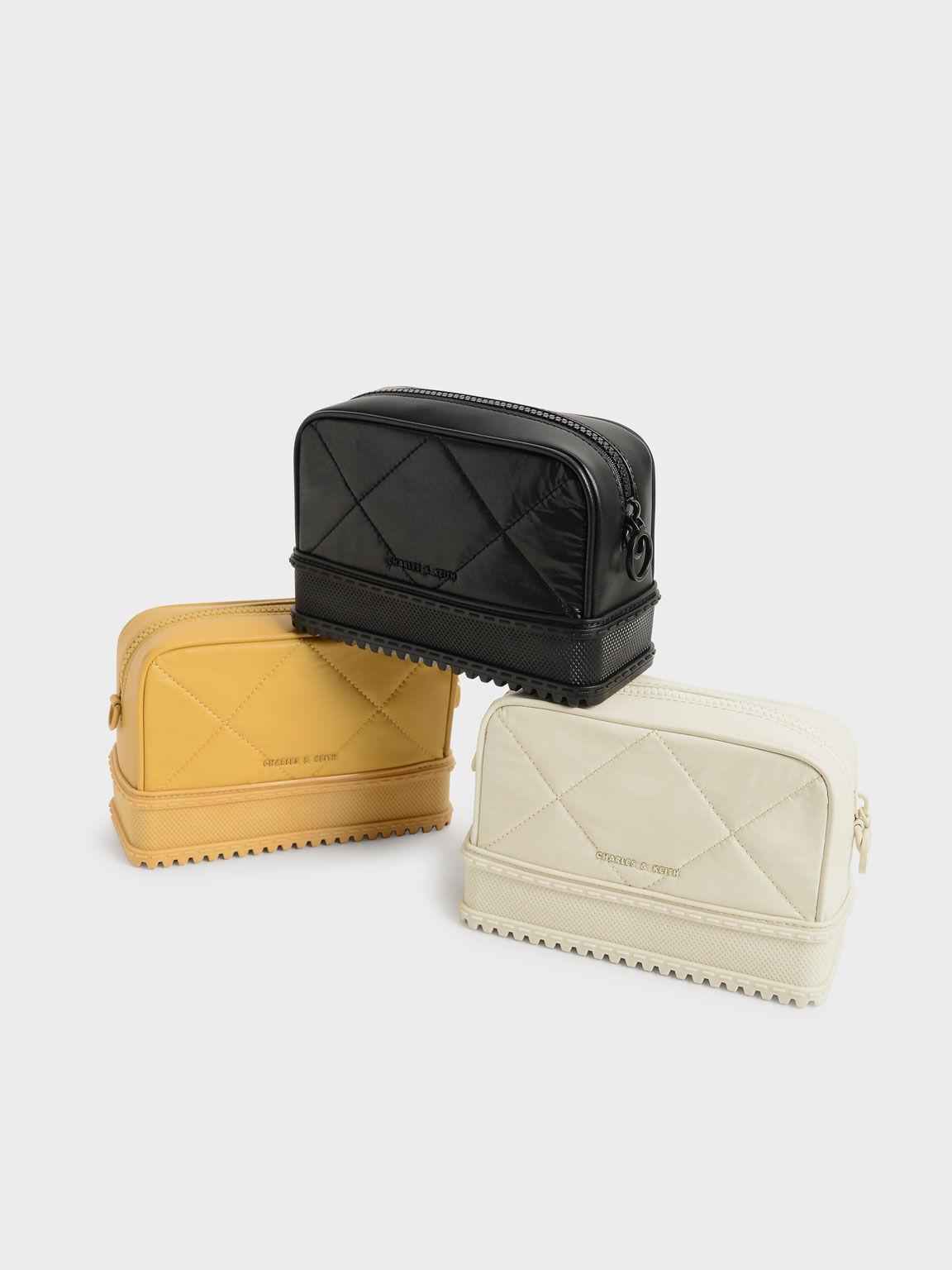 Quilted Top-Zip Crossbody Bag, Mustard, hi-res