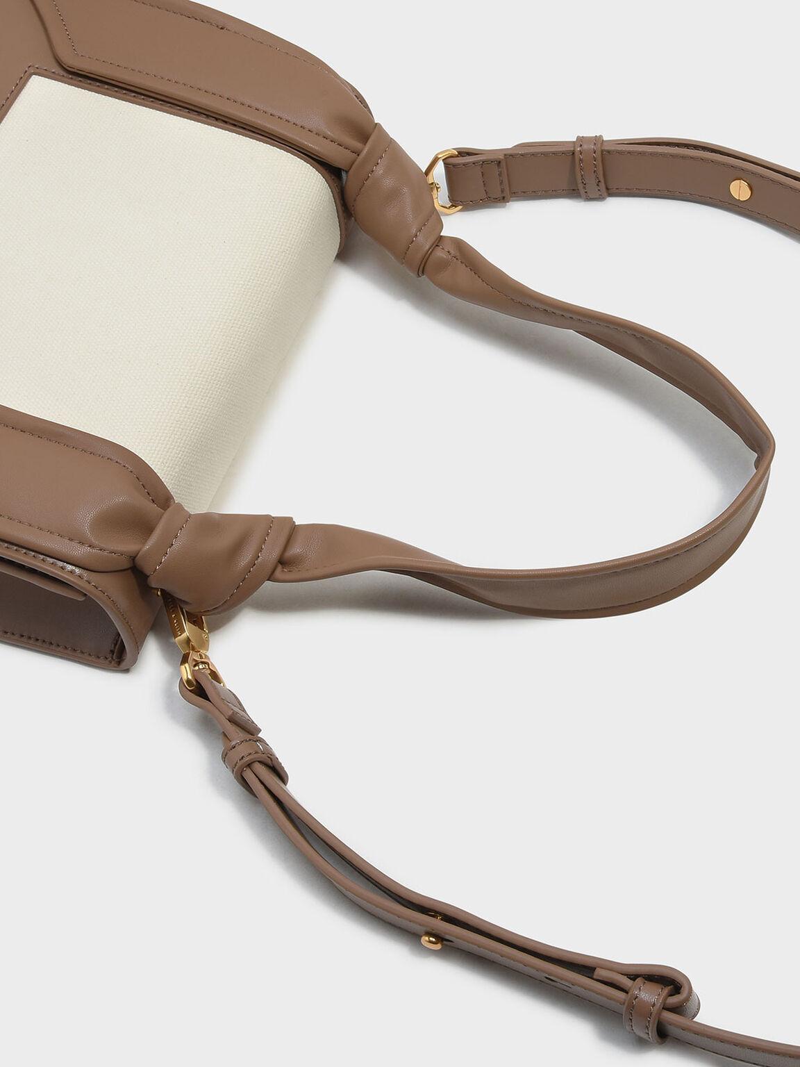 Knotted Strap Handbag, Taupe, hi-res