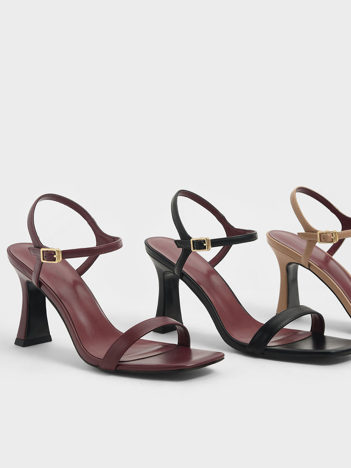 Sculptural Heel Sandals, Burgundy, hi-res