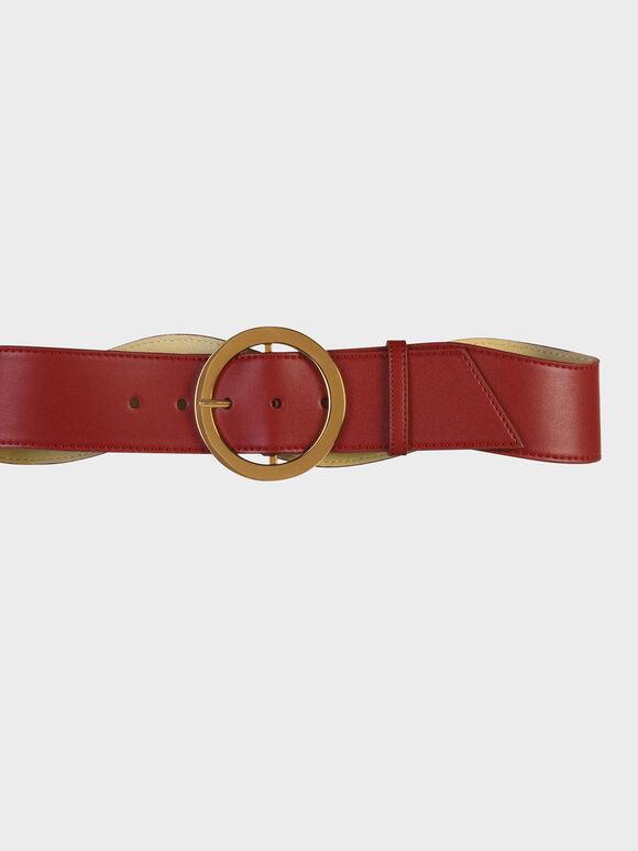 Oversized Circular Buckle Belt, Red, hi-res