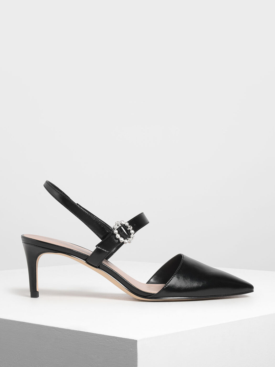Metallic Mary Jane Slingback Pumps, Black, hi-res