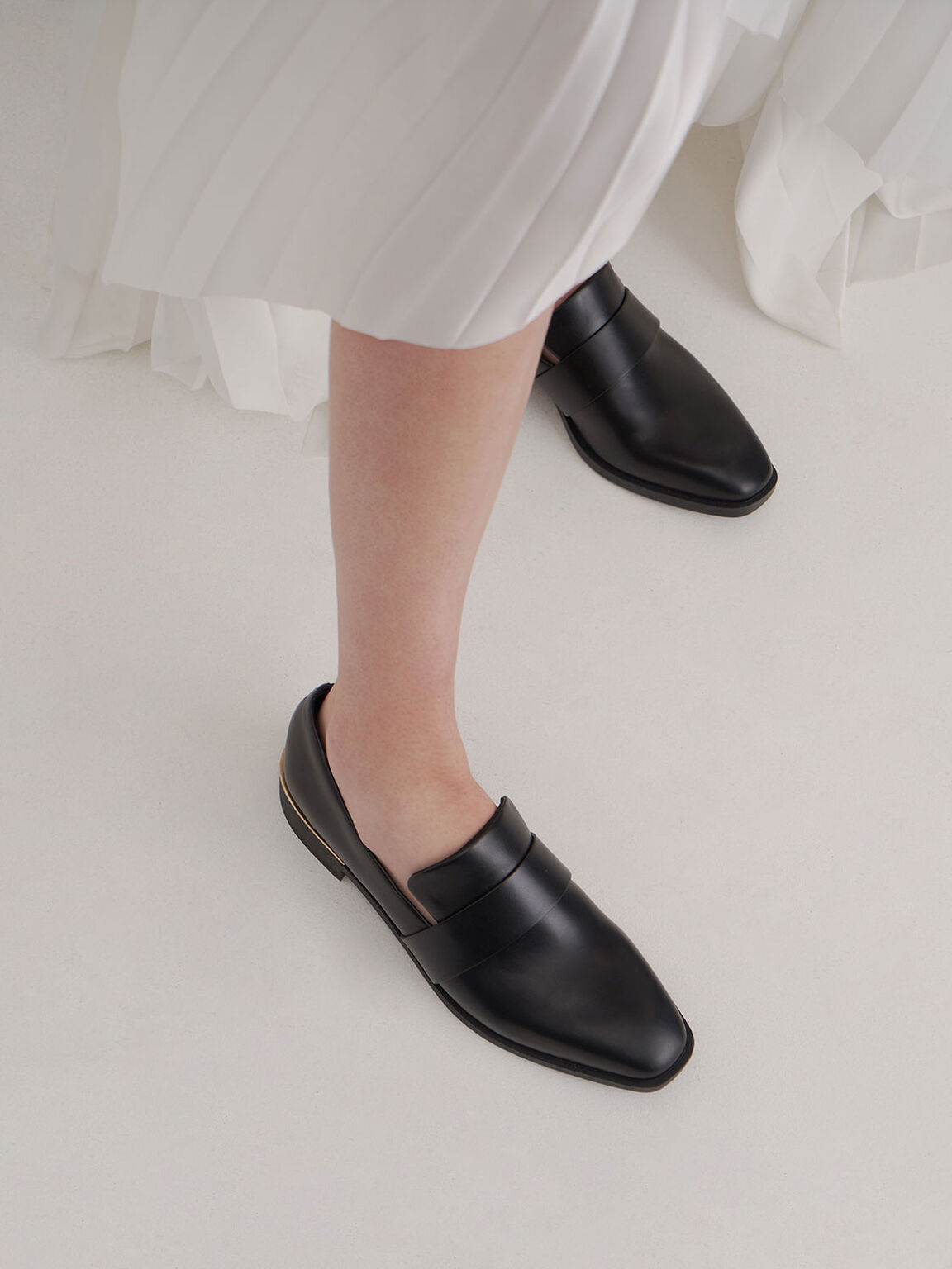 Square Toe Penny Loafers, Black, hi-res